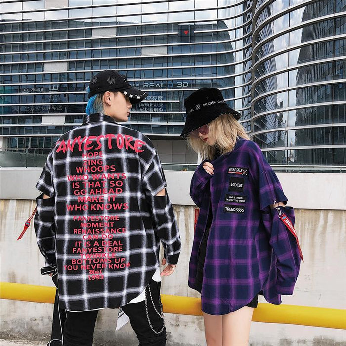 Tide Brand Plaid Printing Loose Long-Sleeved Japanese Street Shirt