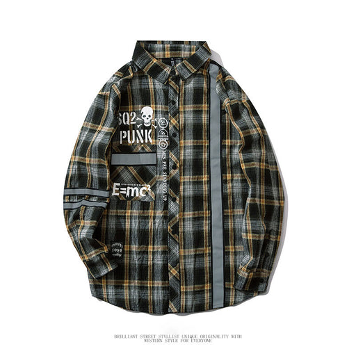 Japanese  Hip-hop loose Harajuku national trend skull reflective plaid shirt