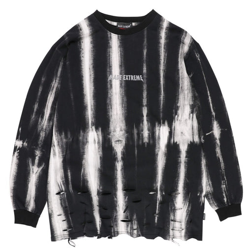 Kokoakeiko Japanese Hip Hop Tie-Dye Gradient ColorRound Neck Sweater