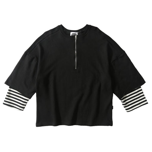Kokoakeiko Japanese Hip Hop FakeTwo-Piece Stitching Striped Sleeves Round Neck Sweater