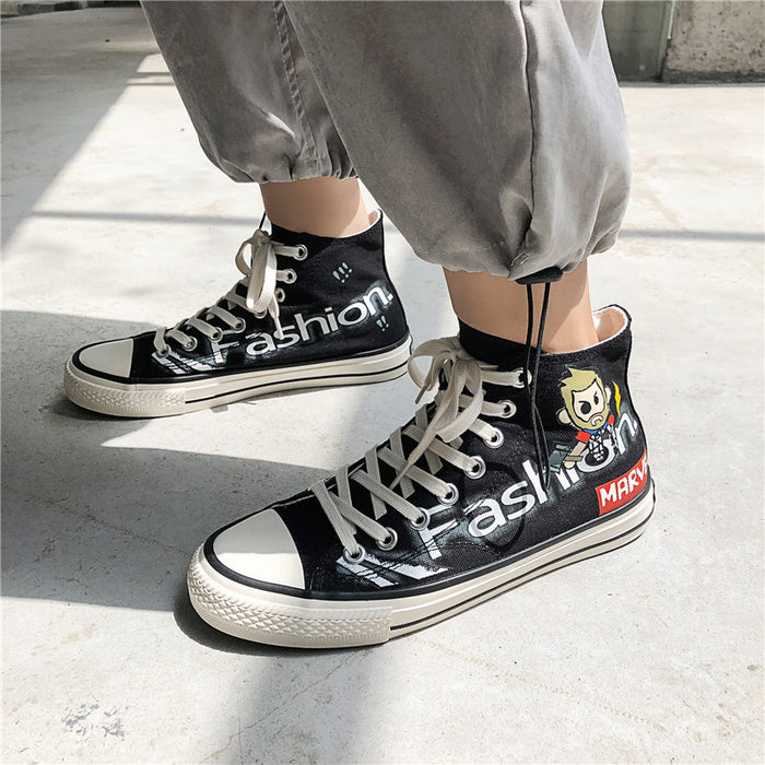 Japanese trendy men's color matching letters breathable casual sneakers