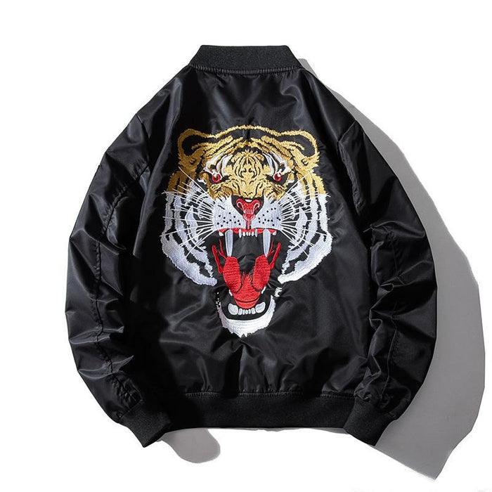 Sukajan Bomber Jacket-Japanese Tiger Embroidery