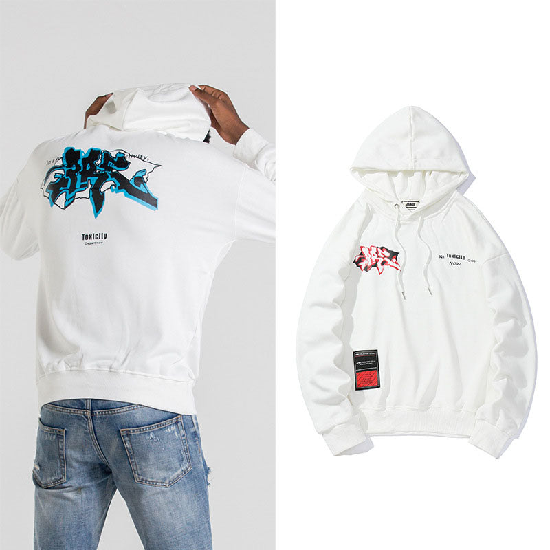 Japanese  Anime solid color letter hoodie