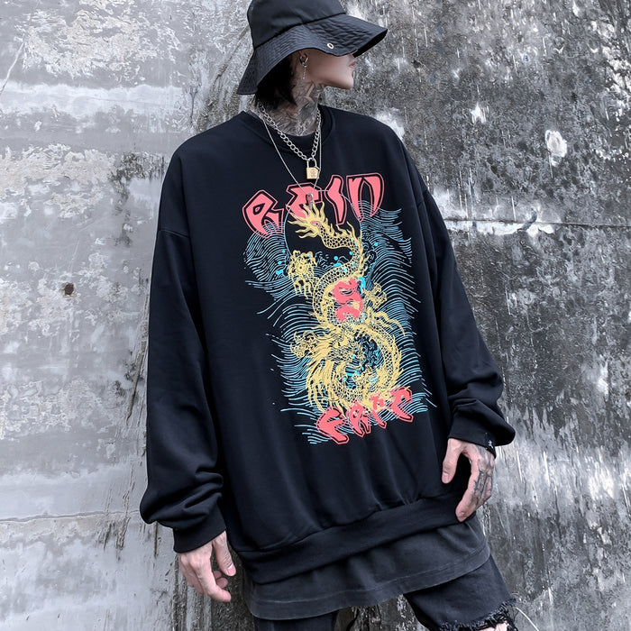 Kokoakeiko Japanese Hip HopTenglong printing Round Neck Sweater