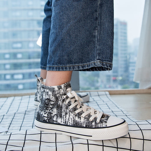 Japanese trendy men's letter print graffiti breathable casual sneakers