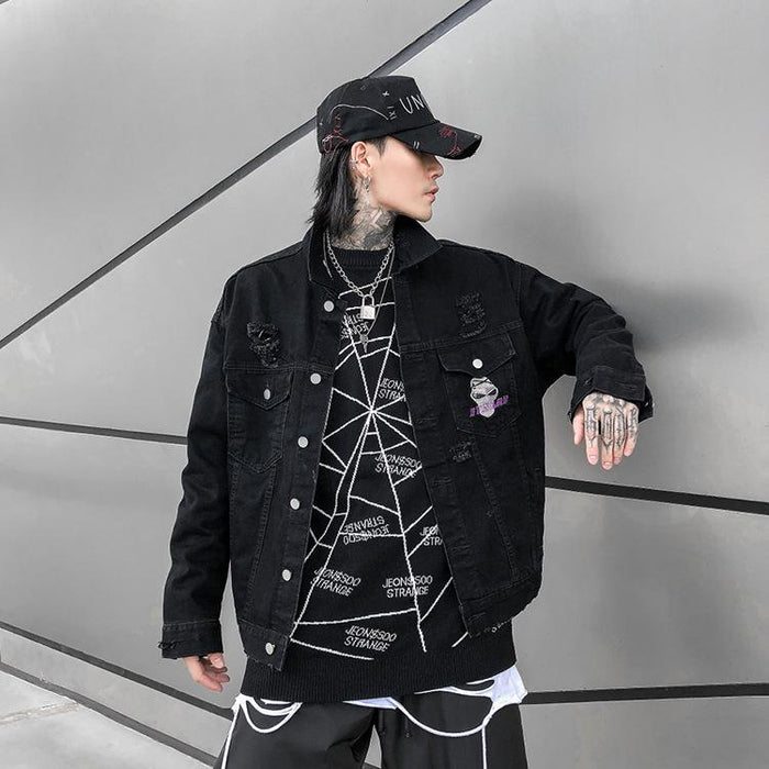 Grunge Popular logo scratch hole jacket