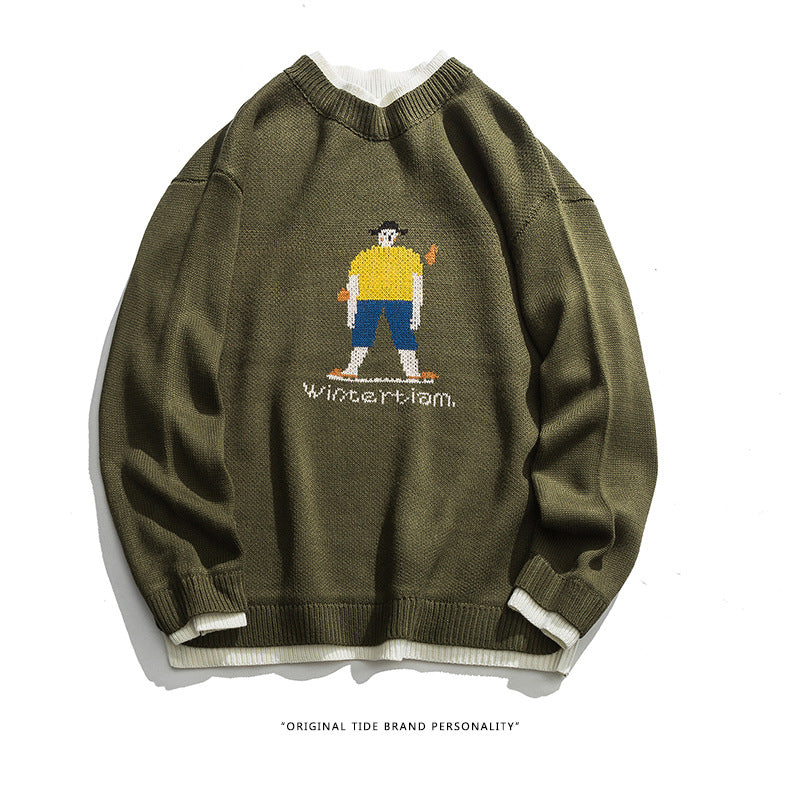 Kokoakeiko Rapper Cartoon boy pattern sweater