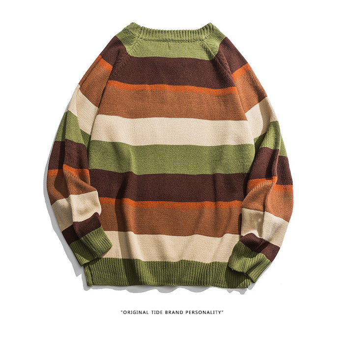 Kokoakeiko Rapper Striped retro style Sweater
