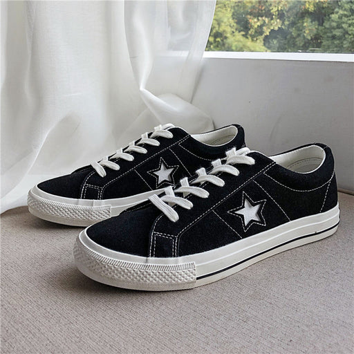 Japanese trendy men's canvas shoes, men's imitation cow flannel shoes, all-match board shoes, star shoes