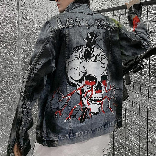 Grunge Hiphop graffiti lovers BF denim jacket