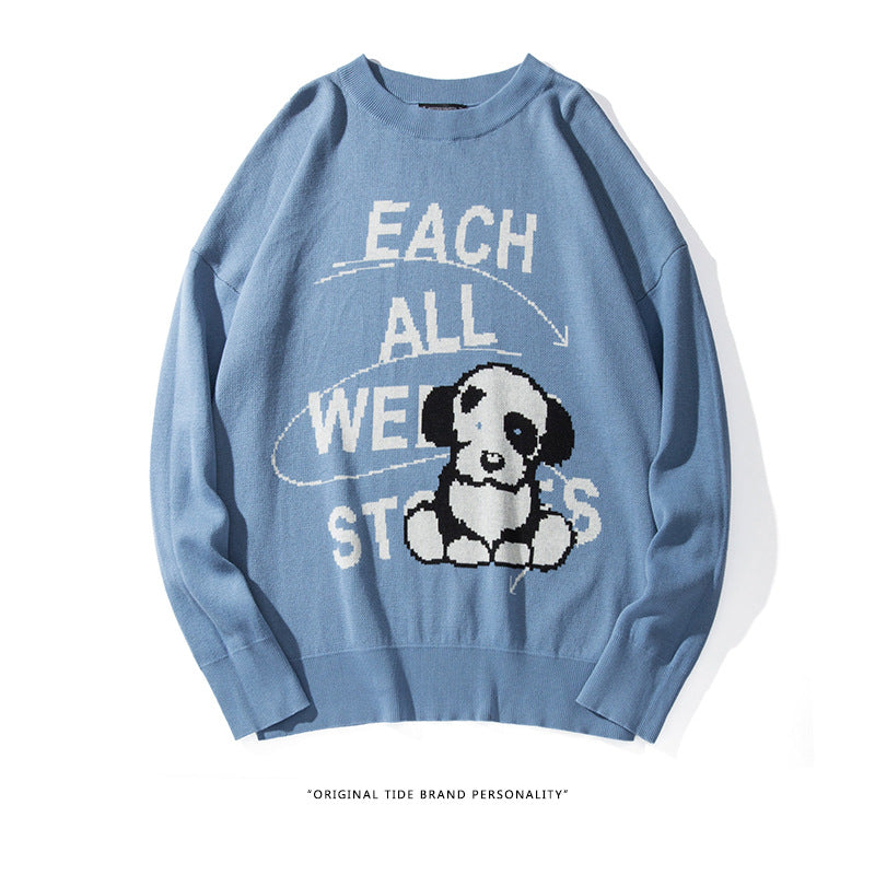Kokoakeiko Rapper cartoon puppy long-sleeved round neck