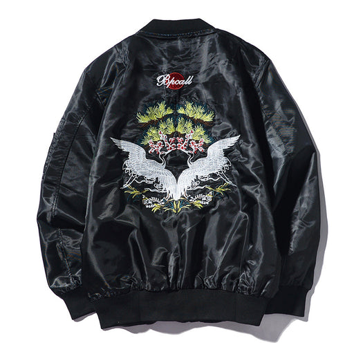 Sukajan Bomber Jacket - Japan Swan Embroidery