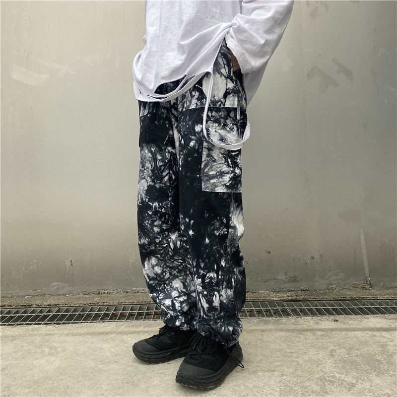 Japanese fashion men's old smoke dye printing loose straight casual trousers