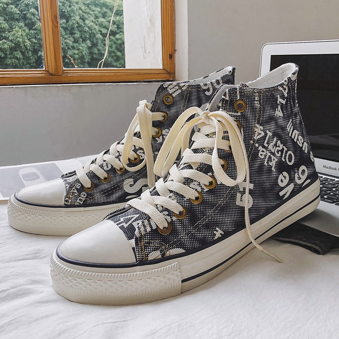 Japanese trendy men's plaid all-match sneakers