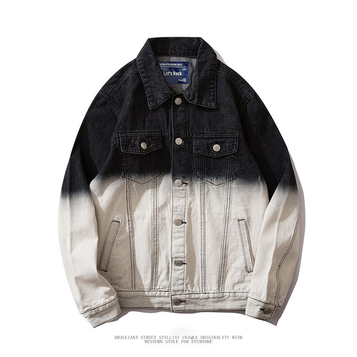 Japanese Retro loose denim gradient jacket