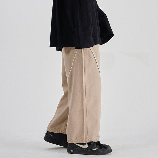 Japanese trendy men's retro drawstring loose-fitting casual wide-leg trousers
