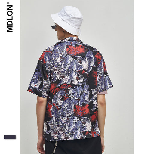 Japanese Tigers Roared Print Oversize Men's Shirts