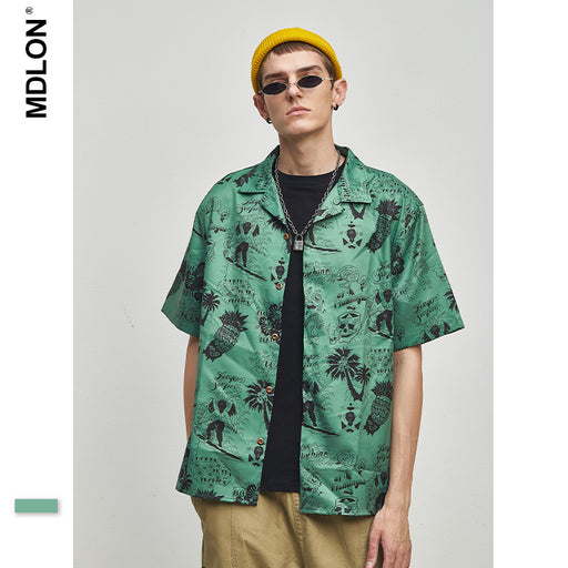 Japanese Retro Abstract Skull Print Oversize Men's Shirts