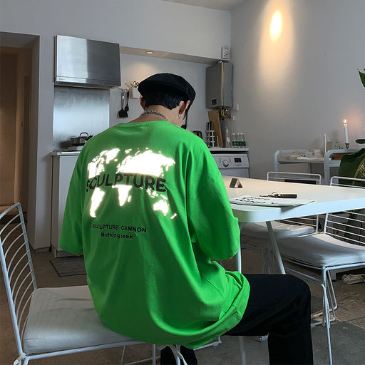 Japanese fashion reflective hip-hop embroidery fluorescent green T-shirt