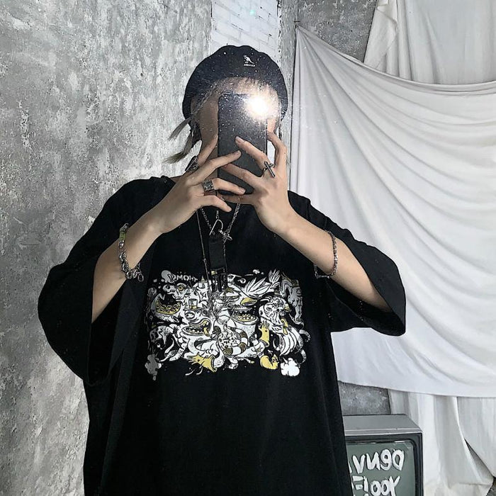 Grunge Instagram diablo ghost print loose-fitting T-shirt