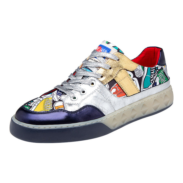 Japanese men's street Cool Hip Hop anime silver sneakers
