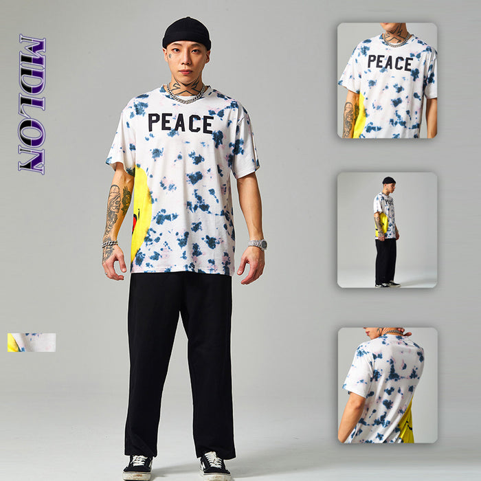 Japanese English Big Smiley Face Print Street Tie-dye Men's T-shirts