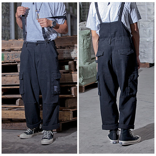 Japanese trendy men's casual one-piece back loose suspenders