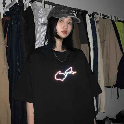 Japanese fashion reflective hip-hop Pikachu T-shirt