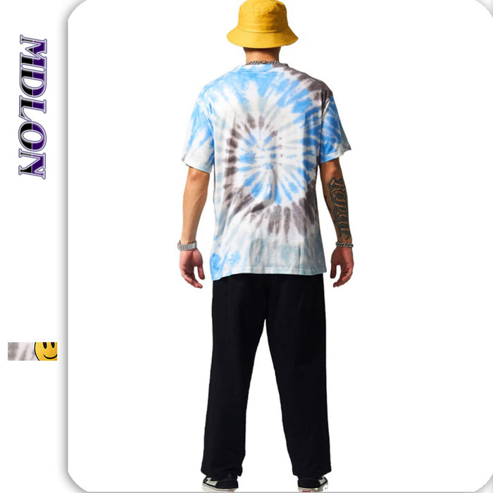 Japanese Street  Smiling Face Spiral Tie-dye Men's T-shirts