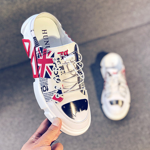 Japanese street cool hip-hop white loafers
