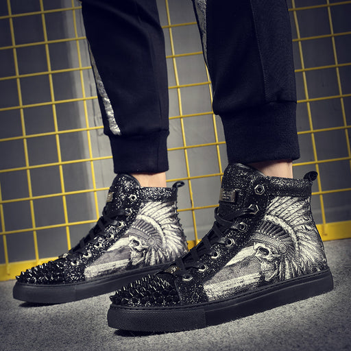 Japanese men's street cool hip-hop studded high-top shoes