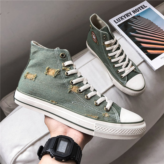 Japanese breathable denim high-top shoes