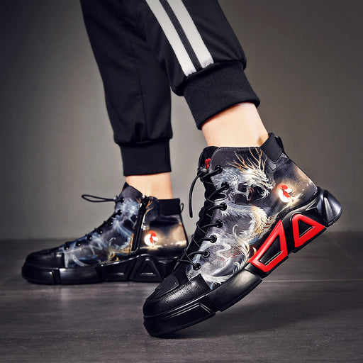 Japanese Street Cool Hip Hop Reflective Dragon Sneakers