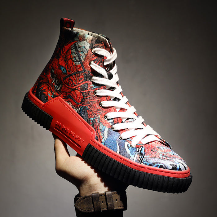 Japanese Men's Street Cool Hip Hop Tiger High Top Shoes