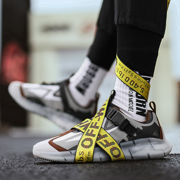 Japanese Trendy Men's Reflective Flying Woven Sneakers