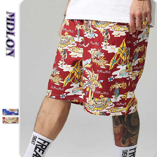 Japanese Street Print Oversize Men's Beach Shorts