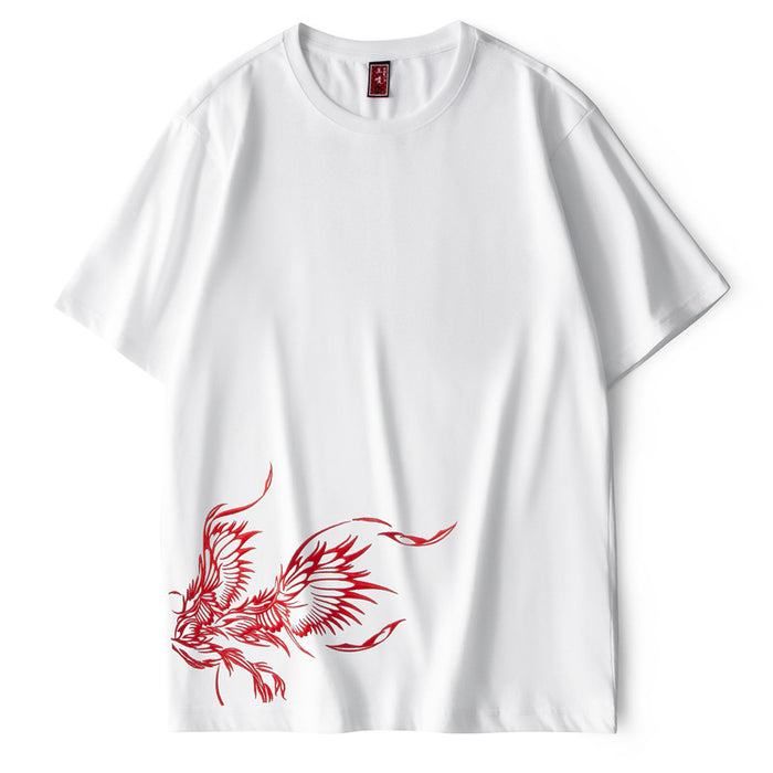 Japanese Embroidered Phoenix Personalized Short Sleeve Hip Hop Loose T-shirt