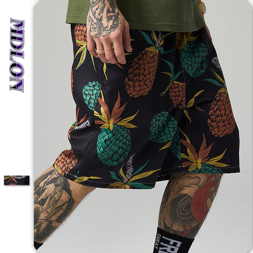 Japanese Street Pineapple Print Men's Beach Shorts