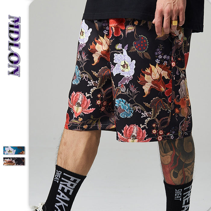 Japanese Street Fish Flowers Print Oversize Loose Men's Beach Shorts