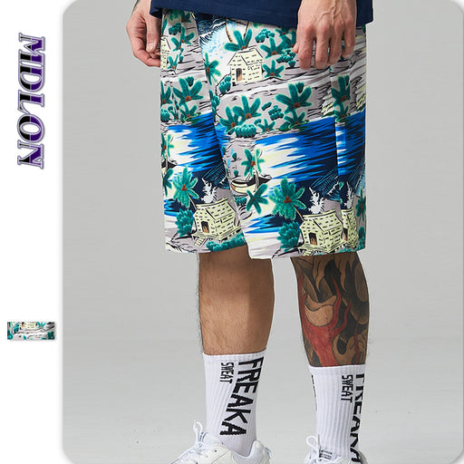 Japanese Street Print Oversize Loose Men's Beach Shorts