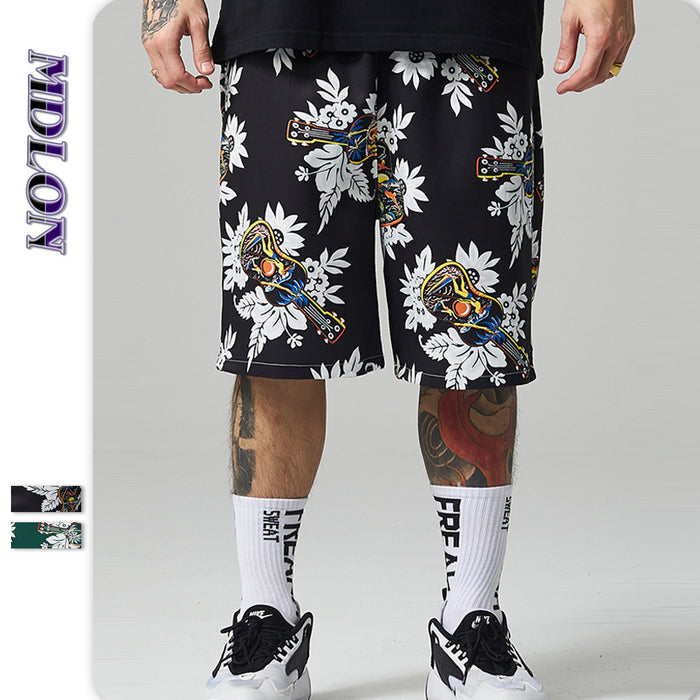 Japanese Street Guitar Print Men's Beach Shorts