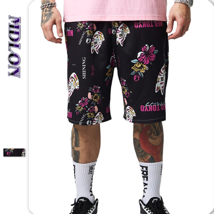Japanese Street Cat Flowers Print Men's Beach Shorts
