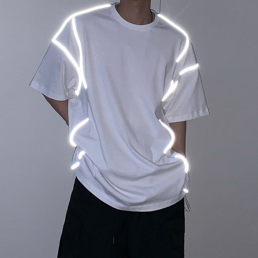Japanese fashion reflective hip-hop T-shirt