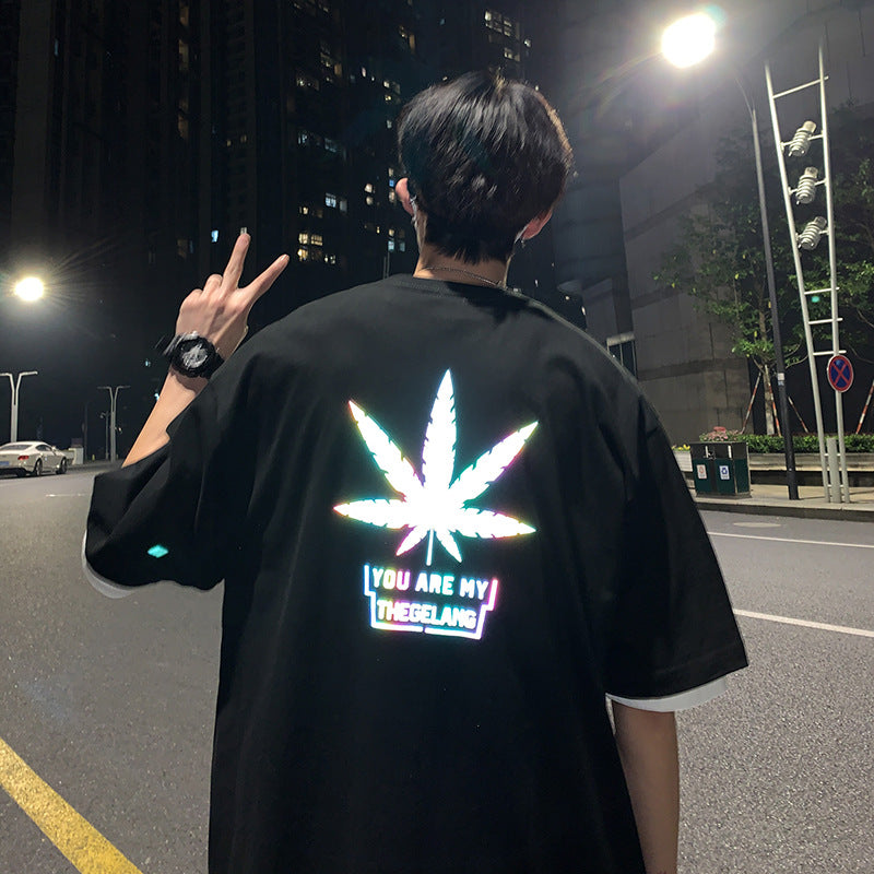 Japanese fashion reflective hip-hop maple T-shirt