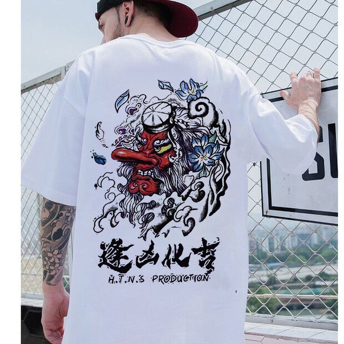 Japanese  Summer national embroidery embroidery crane crane loose student couple short sleeves