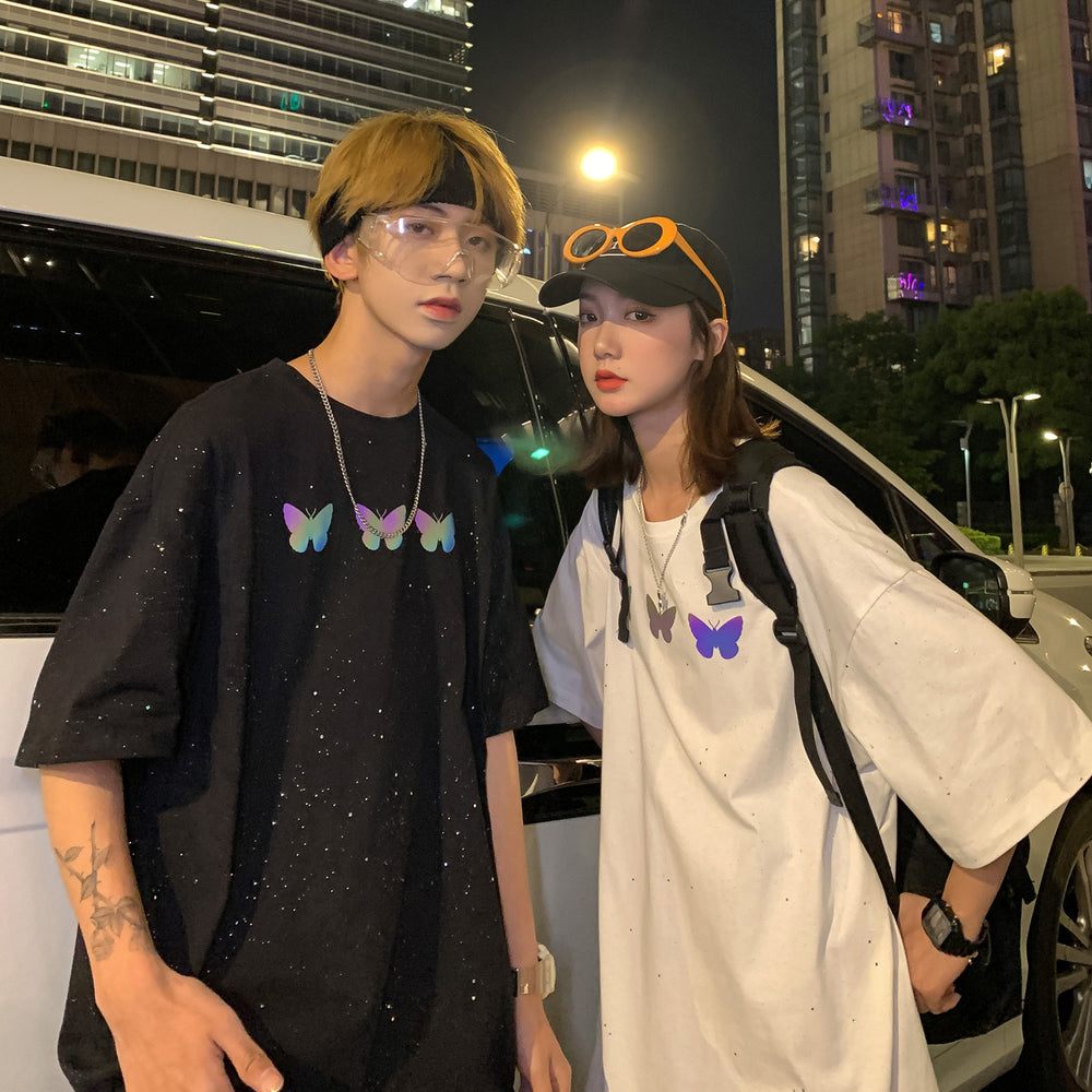 Japanese fashion reflective hip hop butterfly T-shirt