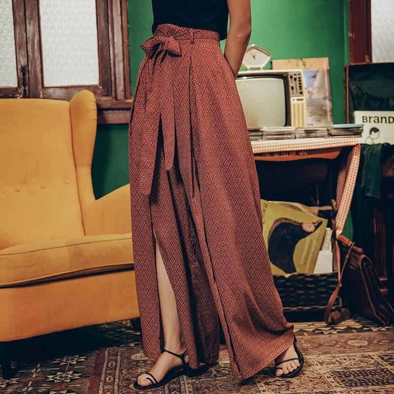 Sexy elegant bohemian side slit wide leg pants high waist trousers