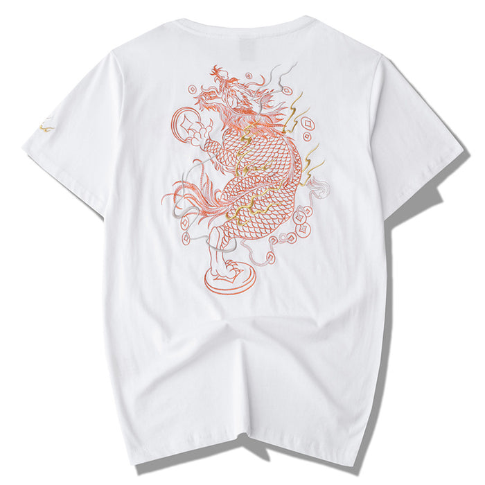 Japanese  Anime  Gender Men Unicorn embroidered loose T-shirt