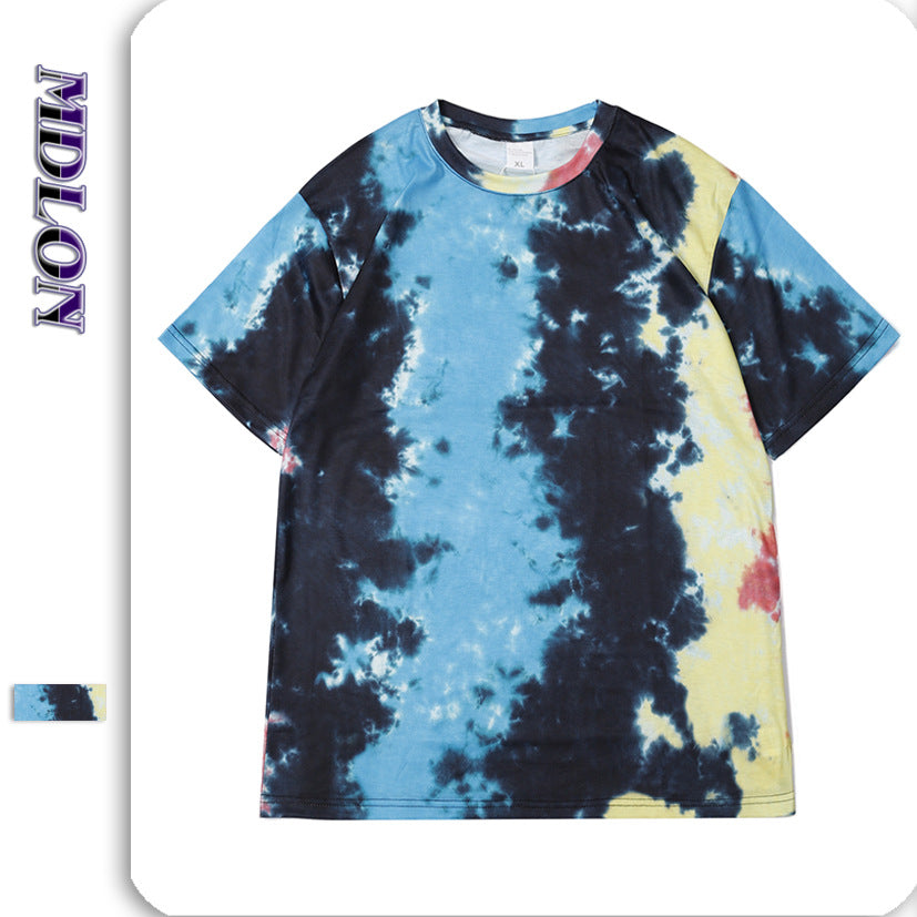 Japanese Street Color Irregularity Tie-dye Men's T-shirts