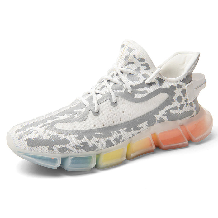 Japanese trendy coconut shoes colorful reflective glowing rainbow sneakers